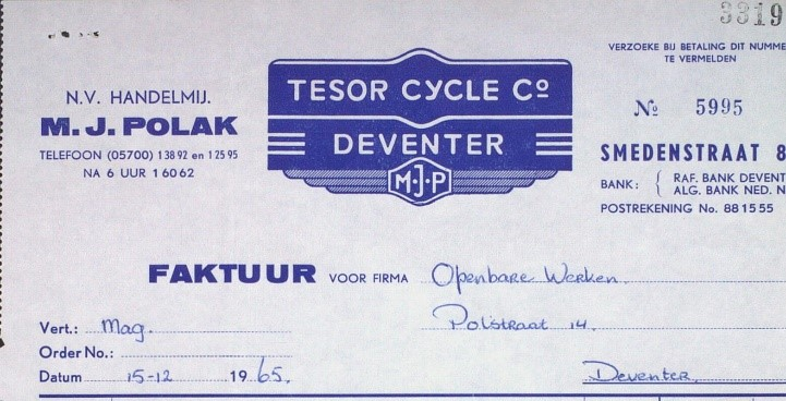 faktuur Tesor Cycle 1965
